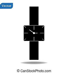 Wall black clock modern icon. Simple illustration of wall...
