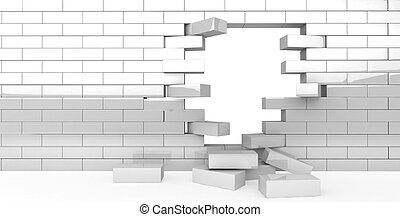 wall break - 3D illustration of a simple objects for use in...