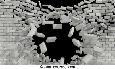 wall break white brick