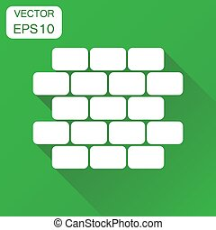 Wall brick icon. Business concept wall pictogram. Vector illustration on green background with long shadow.