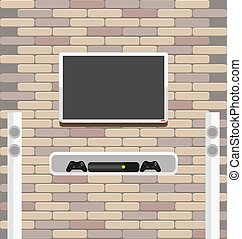 Wall brick with tv and game console hanging on it