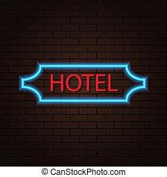 wall., brique, hôtel, signe néon