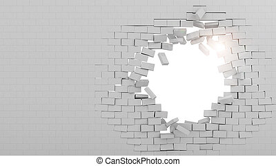 Wall broken through - Background of a brick wall broken...