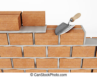 Wall Building With Bricks And Hand Shovel