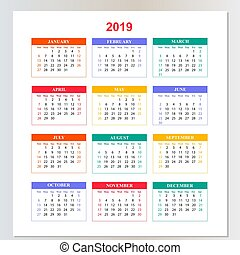 Wall Calendar for 2019 year from Sunday to Saturday.