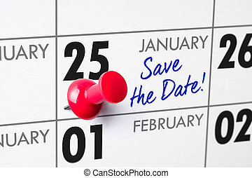 Wall calendar with a red pin - January 25