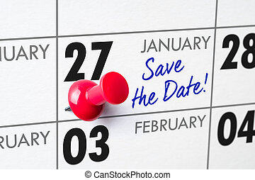 Wall calendar with a red pin - January 27