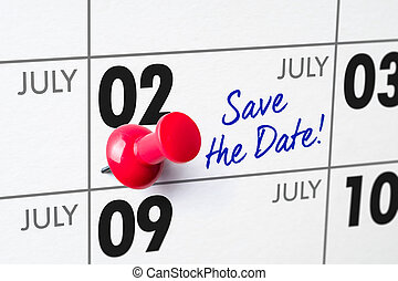 Wall calendar with a red pin - July 02