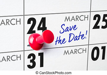 Wall calendar with a red pin - March 24