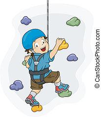 Wall Climbing Boy - Illustration of a Little Boy Dressed in...