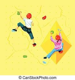 Wall climbing kids - Boy and girl climbing a rock wall