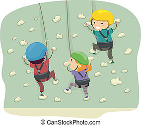 Wall Climbing - Stickman Illustration Featuring Kids Dressed...