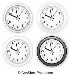 Collection of wall clocks. Four different style, white and black, Realistic vector illustration