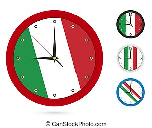 Wall Clock Design with National Flag of Italy. Four different design.