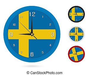 Wall Clock Design with National Flag of Sweden. Four different design.