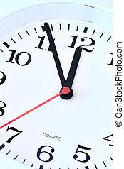 Wall clock dial close-up, five minutes to twelve