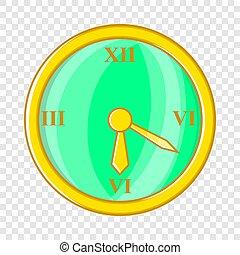 Wall clock icon, cartoon style