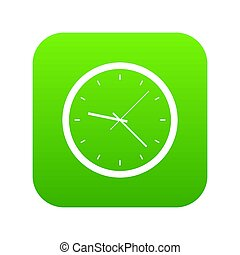 Wall clock icon digital green for any design isolated on ...
