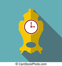 Wall clock icon, flat style