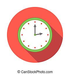 Wall clock icon, flat style
