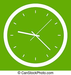 Wall clock icon green - Wall clock icon white isolated on ...