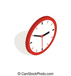 Wall clock icon, isometric 3d style