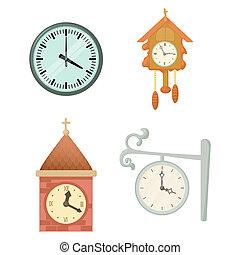Wall clock icon set, cartoon style