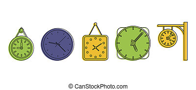Wall clock icon set, color outline style