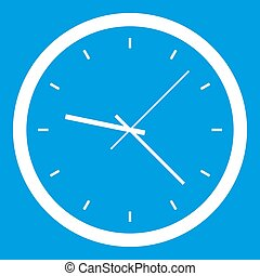 Wall clock icon white isolated on blue background ...