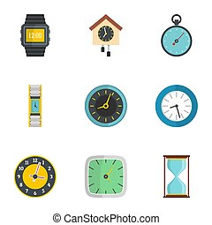 Wall clock icons set, flat style