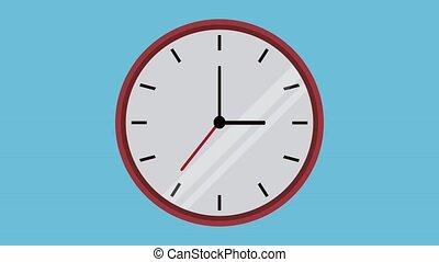 Wall clock in countdown HD animation