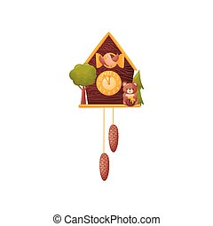 Wall clock in the form of a house. Bird looks out of the window. Bear with a barrel of honey. Vector illustration on a white background.