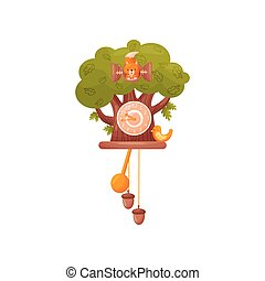 Wall clock in the form of a tree. Squirrel looks out of the window, the bird sits in front of the house. Vector illustration on white background.