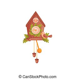 Wall clock in the shape of a house. Decorated with oak leaves. The bird sits in front of the house. Vector illustration on white background.