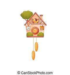 Wall clock in the shape of a house. Hare, squirrel and bird look out of the windows. Vector illustration on white background.