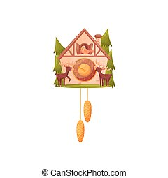 Wall clock in the shape of a house. The bird looks out of the window. Two moose stand in front of the house. Vector illustration on white background.