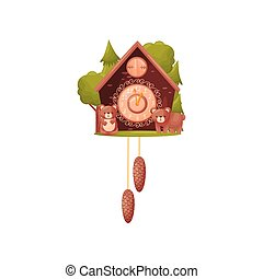 Wall clock in the shape of a house. Two bears in front of the house. Vector illustration on white background.