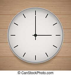 Wall clock in the style of minimalism on wooden background