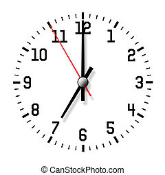 Wall clock isolated on white background. Closeup.