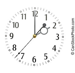 wall clock isolated on white background showing time