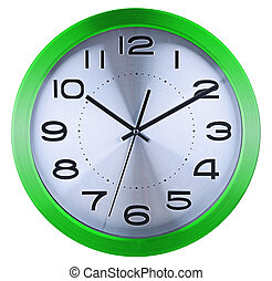 Wall clock isolated on white background.