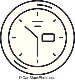 Wall clock line icon concept. Wall clock vector linear illustration, symbol, sign