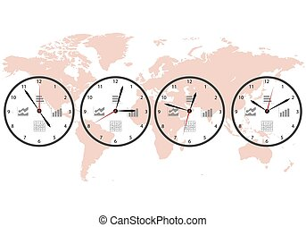 Clock map image of a wall clock on a background map of the world image of a wall clock on a background map gumiabroncs Images