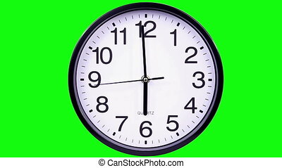 clock on a green background 18:00 - Wall clock on a green...