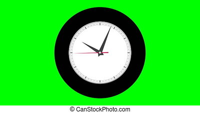 Wall clock on a green background