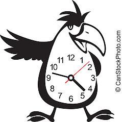 wall clock parrot sticker. Vector illustration - Cute wall...