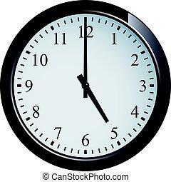 Wall clock set at 5 o'clock