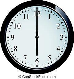 Wall clock set at 6 o'clock