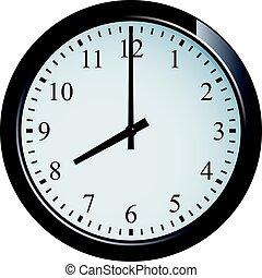 Wall clock set at 8 o'clock