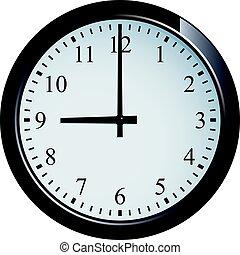 Wall clock set at 9 o'clock
